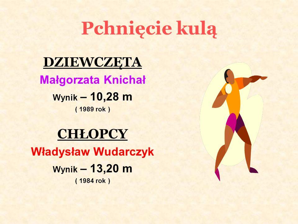 Pchnięcie kulą DZIEWCZĘTA Małgorzata Knichał Wynik – 10,28 m ( 1989 rok ) CHŁOPCY Władysław Wudarczyk Wynik – 13,20 m ( 1984 rok )