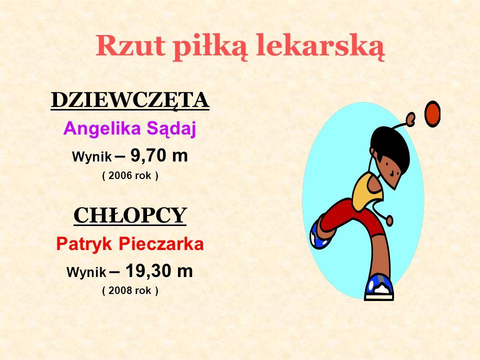 Rzut piłką lekarską DZIEWCZĘTA Angelika Sądaj Wynik – 9,70 m ( 2006 rok ) CHŁOPCY Patryk Pieczarka Wynik – 19,30 m ( 2008 rok )