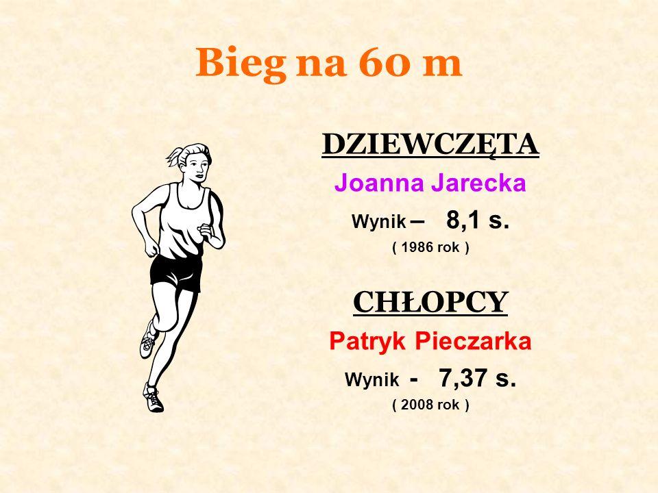 Bieg na 60 m DZIEWCZĘTA Joanna Jarecka Wynik – 8,1 s.