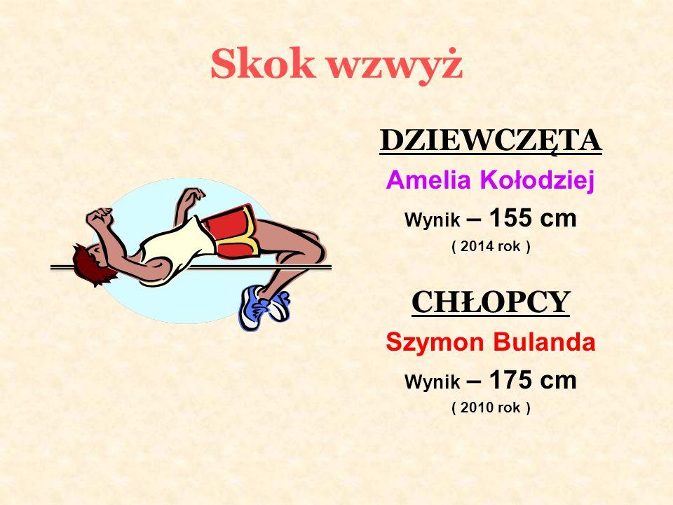 Skok wzwyż DZIEWCZĘTA Amelia Kołodziej Wynik – 155 cm ( 2014 rok ) CHŁOPCY Szymon Bulanda Wynik – 175 cm ( 2010 rok )