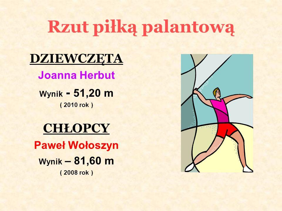 Rzut piłką palantową DZIEWCZĘTA Joanna Herbut Wynik - 51,20 m ( 2010 rok ) CHŁOPCY Paweł Wołoszyn Wynik – 81,60 m ( 2008 rok )