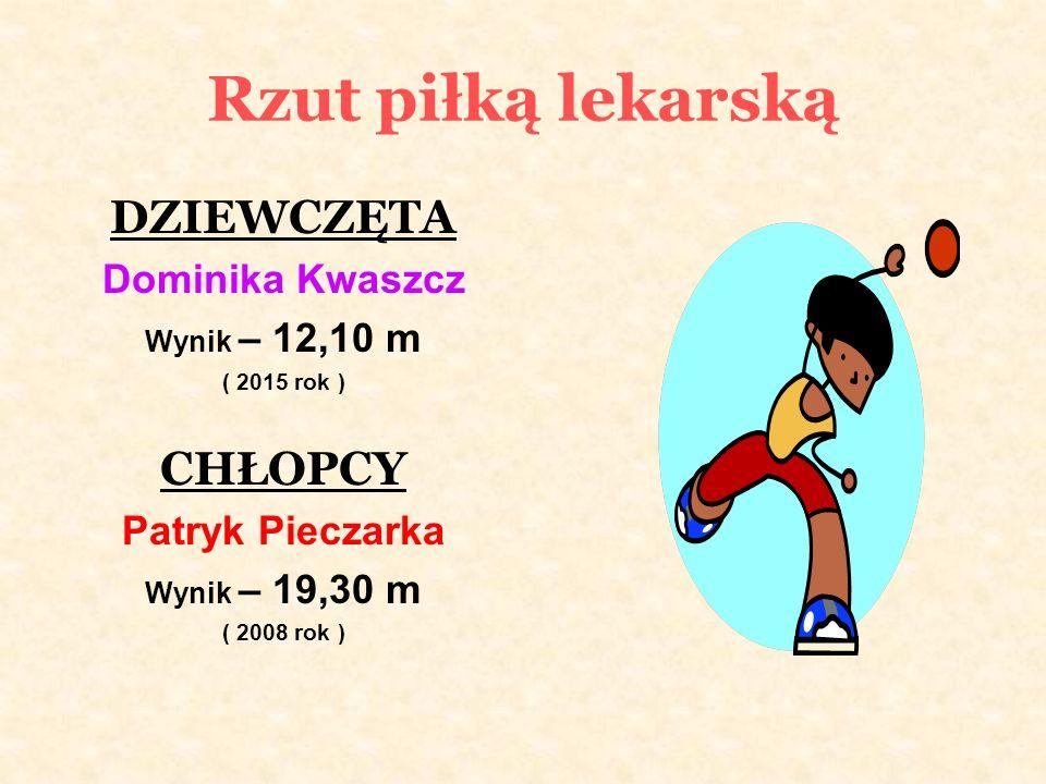 Rzut piłką lekarską DZIEWCZĘTA Dominika Kwaszcz Wynik – 12,10 m ( 2015 rok ) CHŁOPCY Patryk Pieczarka Wynik – 19,30 m ( 2008 rok )