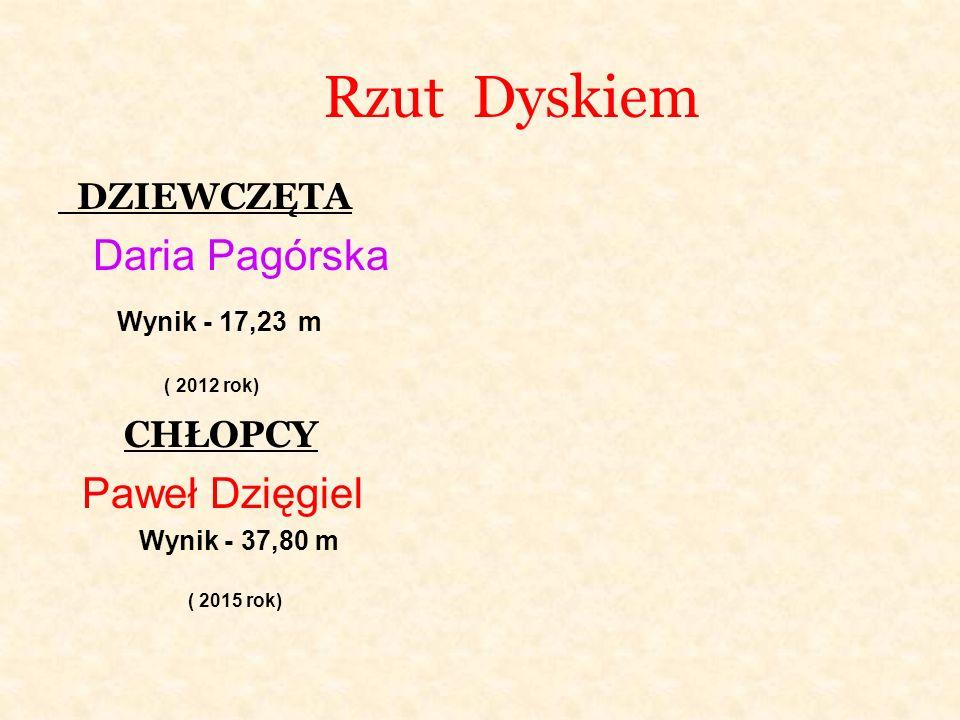 Rzut Dyskiem DZIEWCZĘTA Daria Pagórska Wynik - 17,23 m ( 2012 rok) CHŁOPCY Paweł Dzięgiel Wynik - 37,80 m ( 2015 rok)