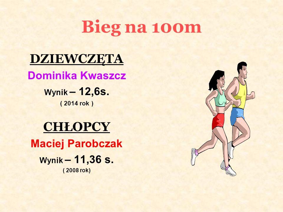 Bieg na 100m DZIEWCZĘTA Dominika Kwaszcz Wynik – 12,6s.