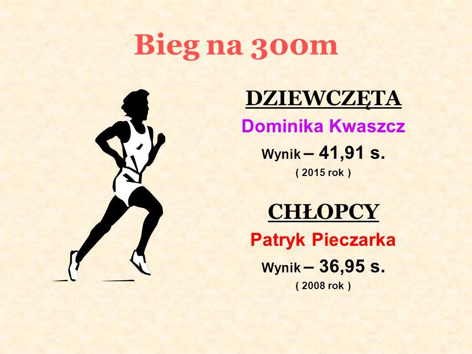 Bieg na 300m DZIEWCZĘTA Dominika Kwaszcz Wynik – 41,91 s.