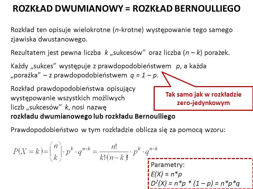 ROZKŁAD DWUMIANOWY = ROZKŁAD BERNOULLIEGO Rozkład ten opisuje wielokrotne (n-krotne) występowanie tego samego zjawiska dwustanowego.