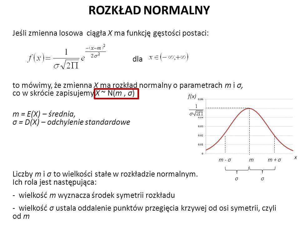 ROZKŁAD NORMALNY Jeśli zmienna losowa ciągła X ma funkcję gęstości postaci: dla to mówimy, że zmienna X ma rozkład normalny o parametrach m i σ, co w skrócie zapisujemy X ~ N(m, σ) m = E(X) – średnia, σ = D(X) – odchylenie standardowe Liczby m i σ to wielkości stałe w rozkładzie normalnym.