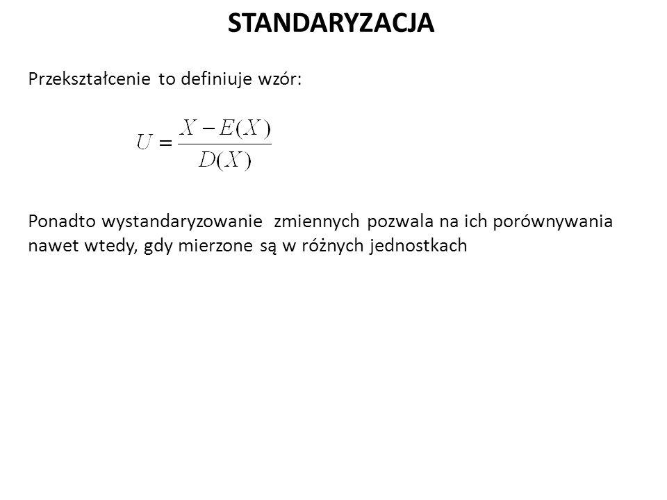 STANDARYZACJA Przekształcenie to definiuje wzór: Ponadto wystandaryzowanie zmiennych pozwala na ich porównywania nawet wtedy, gdy mierzone są w różnych jednostkach