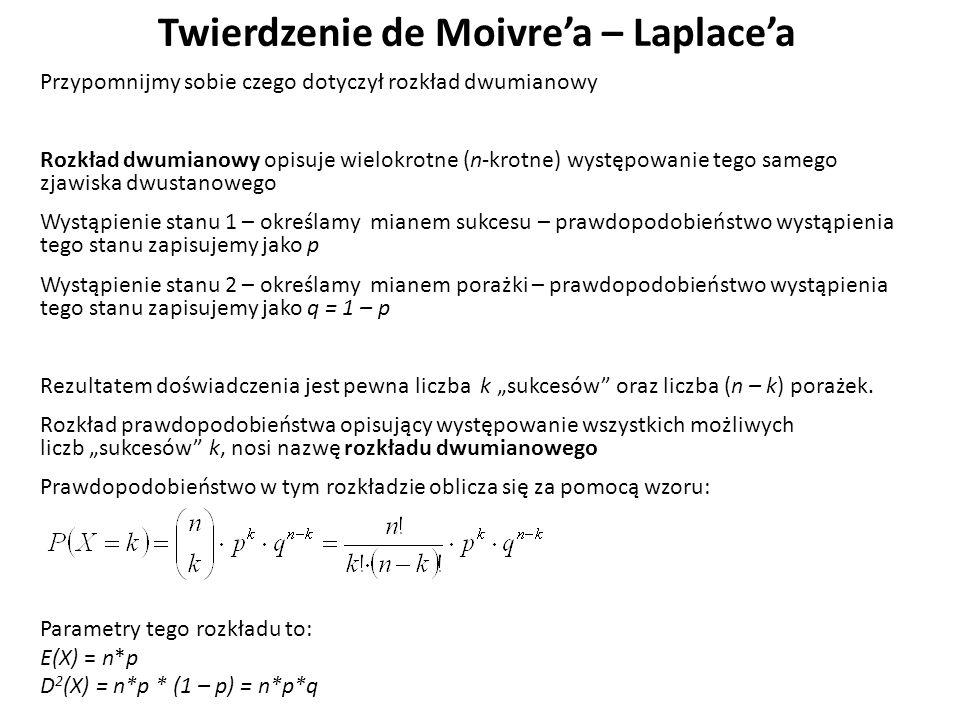 """Twierdzenie de Moivre'a – Laplace'a Przypomnijmy sobie czego dotyczył rozkład dwumianowy Rozkład dwumianowy opisuje wielokrotne (n-krotne) występowanie tego samego zjawiska dwustanowego Wystąpienie stanu 1 – określamy mianem sukcesu – prawdopodobieństwo wystąpienia tego stanu zapisujemy jako p Wystąpienie stanu 2 – określamy mianem porażki – prawdopodobieństwo wystąpienia tego stanu zapisujemy jako q = 1 – p Rezultatem doświadczenia jest pewna liczba k """"sukcesów oraz liczba (n – k) porażek."""