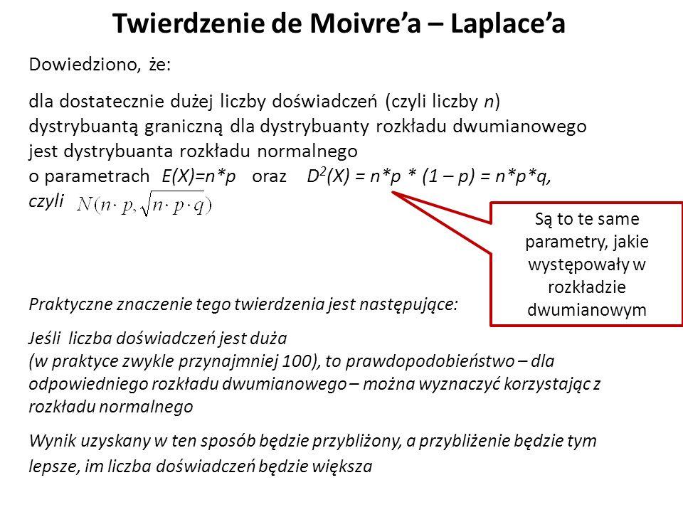 Twierdzenie de Moivre'a – Laplace'a Dowiedziono, że: dla dostatecznie dużej liczby doświadczeń (czyli liczby n) dystrybuantą graniczną dla dystrybuanty rozkładu dwumianowego jest dystrybuanta rozkładu normalnego o parametrach E(X)=n*p oraz D 2 (X) = n*p * (1 – p) = n*p*q, czyli Praktyczne znaczenie tego twierdzenia jest następujące: Jeśli liczba doświadczeń jest duża (w praktyce zwykle przynajmniej 100), to prawdopodobieństwo – dla odpowiedniego rozkładu dwumianowego – można wyznaczyć korzystając z rozkładu normalnego Wynik uzyskany w ten sposób będzie przybliżony, a przybliżenie będzie tym lepsze, im liczba doświadczeń będzie większa Są to te same parametry, jakie występowały w rozkładzie dwumianowym