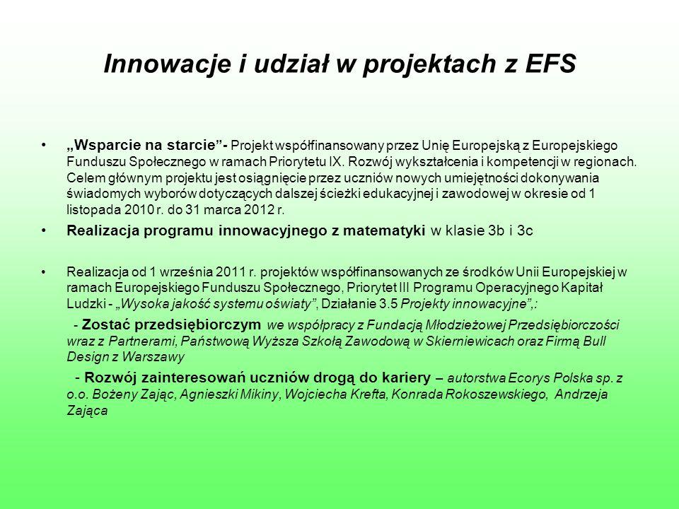 """Innowacje i udział w projektach z EFS """"Wsparcie na starcie """"- Projekt współfinansowany przez Unię Europejską z Europejskiego Funduszu Społecznego w ra"""