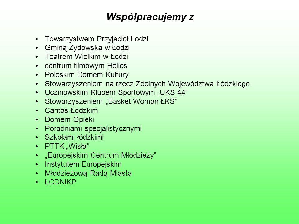 Współpracujemy z Towarzystwem Przyjaciół Łodzi Gminą Żydowska w Łodzi Teatrem Wielkim w Łodzi centrum filmowym Helios Poleskim Domem Kultury Stowarzys