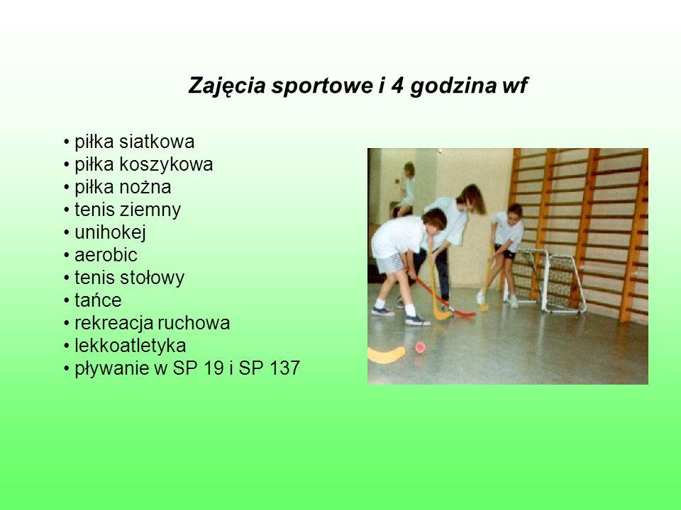 Zajęcia sportowe i 4 godzina wf piłka siatkowa piłka koszykowa piłka nożna tenis ziemny unihokej aerobic tenis stołowy tańce rekreacja ruchowa lekkoat