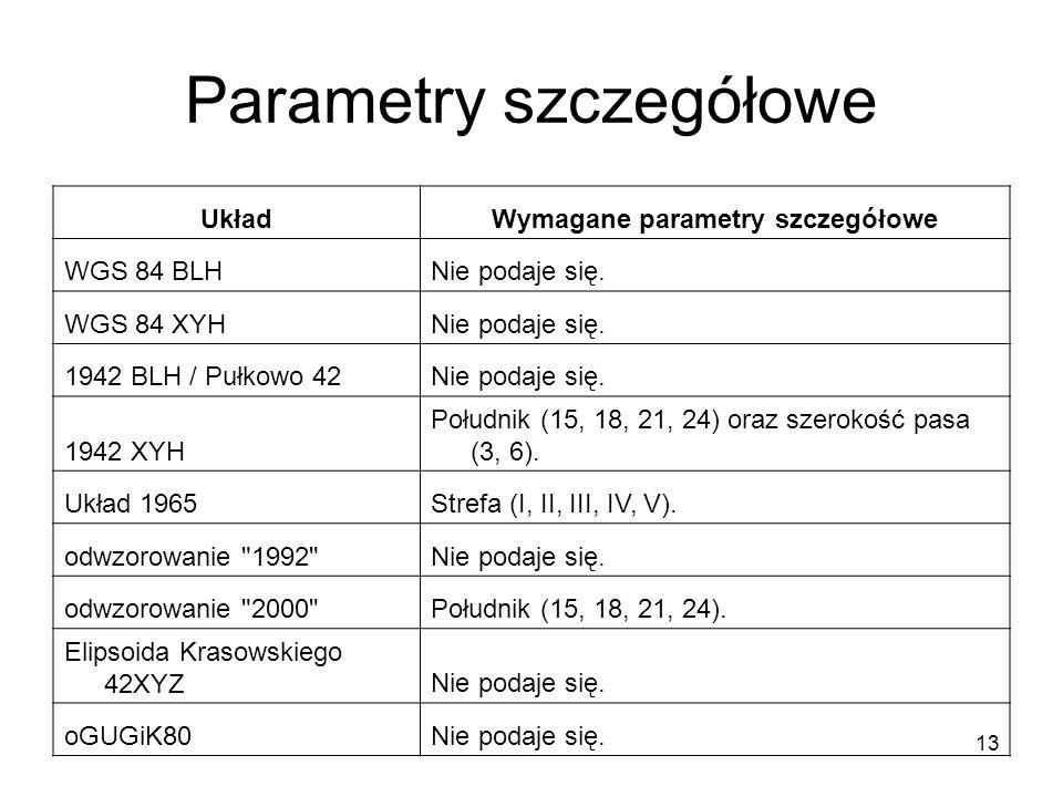 13 Parametry szczegółowe UkładWymagane parametry szczegółowe WGS 84 BLHNie podaje się.