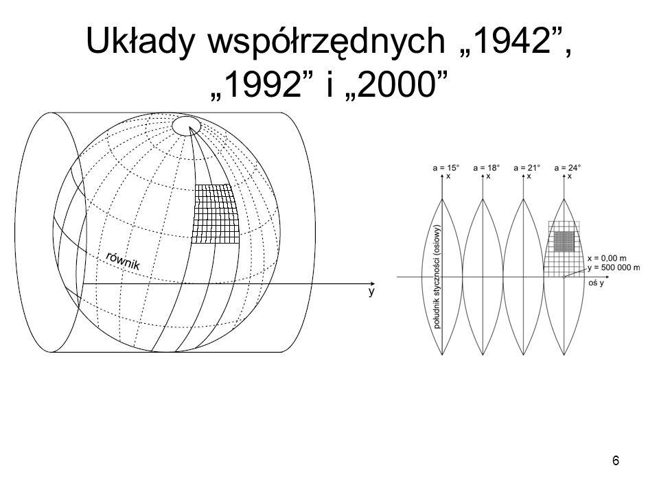 """6 Układy współrzędnych """"1942 , """"1992 i """"2000"""