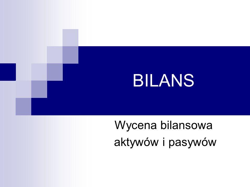BILANS Wycena bilansowa aktywów i pasywów