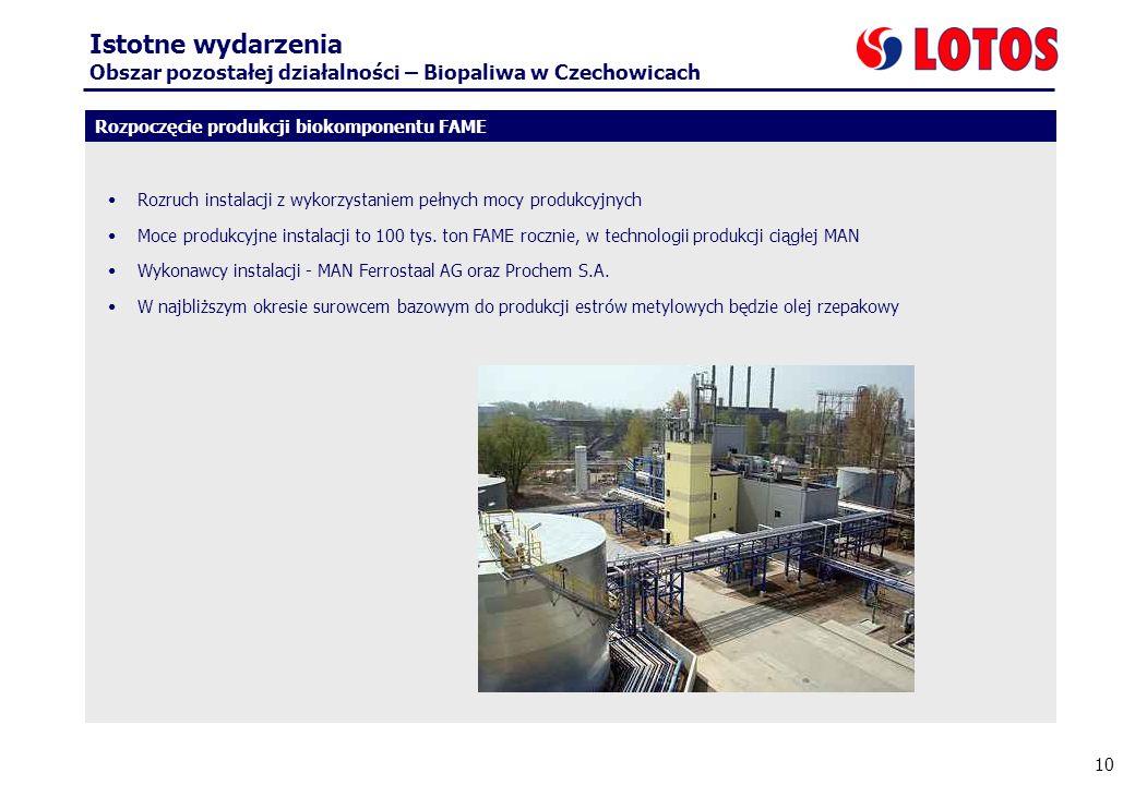 10 Istotne wydarzenia Obszar pozostałej działalności – Biopaliwa w Czechowicach Rozpoczęcie produkcji biokomponentu FAME Rozruch instalacji z wykorzys