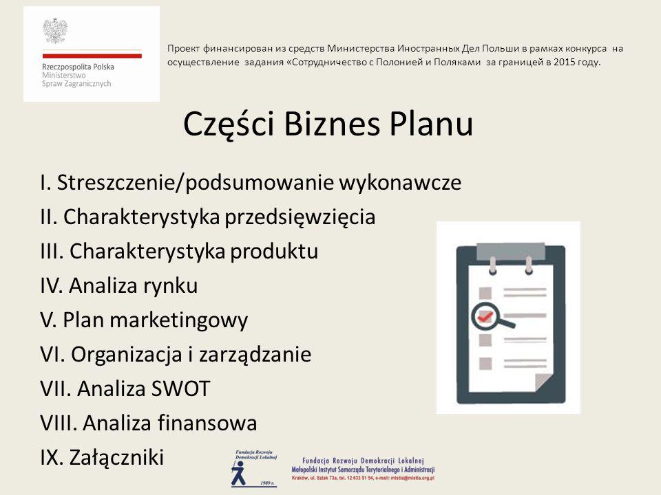 I. Streszczenie/podsumowanie wykonawcze II. Charakterystyka przedsięwzięcia III. Charakterystyka produktu IV. Analiza rynku V. Plan marketingowy VI. O