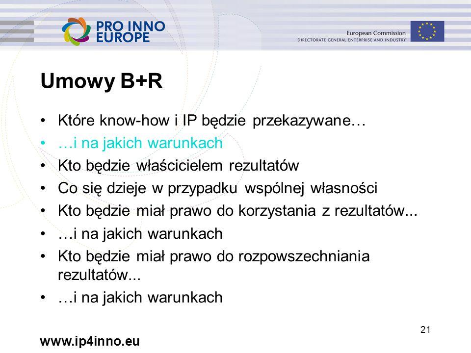 www.ip4inno.eu 21 Umowy B+R Które know-how i IP będzie przekazywane… …i na jakich warunkach Kto będzie właścicielem rezultatów Co się dzieje w przypadku wspólnej własności Kto będzie miał prawo do korzystania z rezultatów...