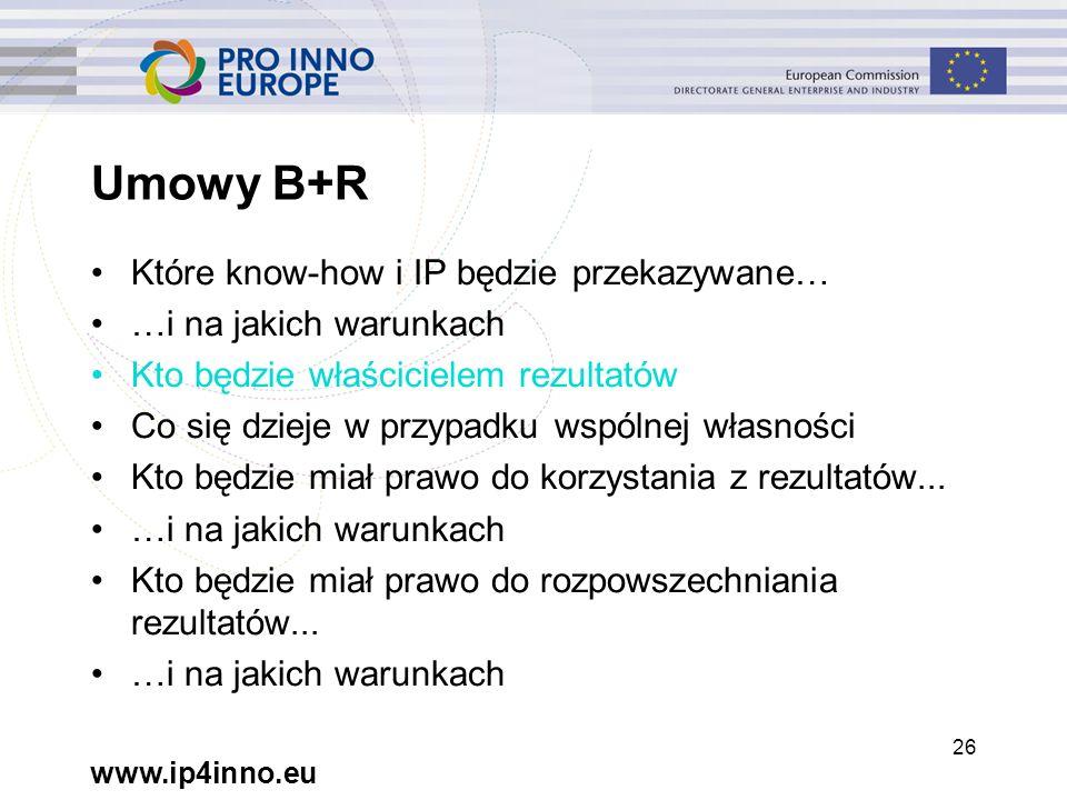 www.ip4inno.eu 26 Umowy B+R Które know-how i IP będzie przekazywane… …i na jakich warunkach Kto będzie właścicielem rezultatów Co się dzieje w przypadku wspólnej własności Kto będzie miał prawo do korzystania z rezultatów...