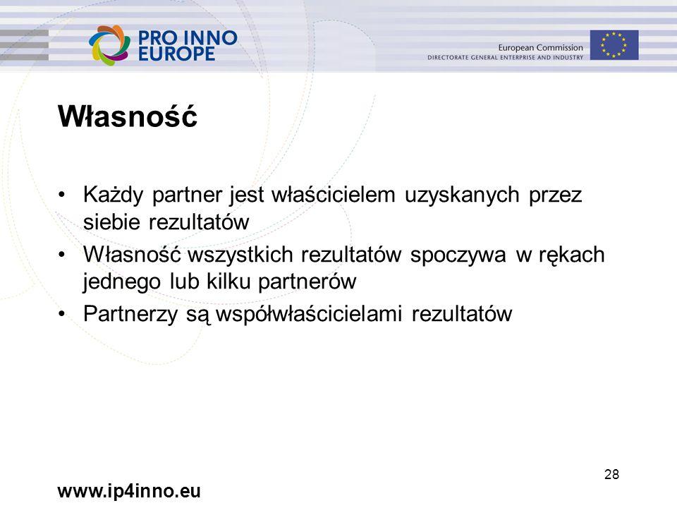 www.ip4inno.eu 28 Własność Każdy partner jest właścicielem uzyskanych przez siebie rezultatów Własność wszystkich rezultatów spoczywa w rękach jednego lub kilku partnerów Partnerzy są współwłaścicielami rezultatów