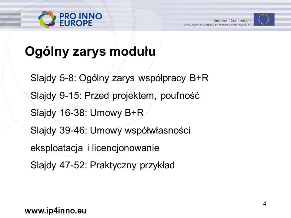 www.ip4inno.eu 45 Wiedza i własność intelektualna Pomysł Wykorzystanie Poufność B+R Licencjonowanie Współwłasność