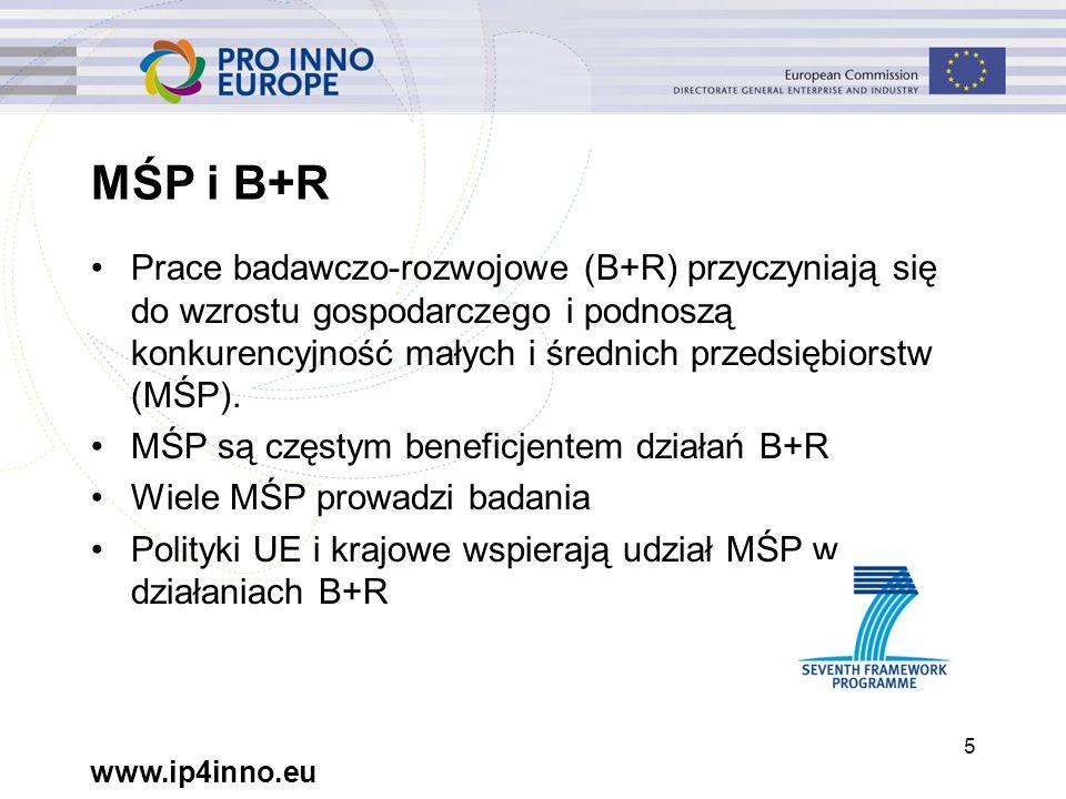 www.ip4inno.eu 5 MŚP i B+R Prace badawczo-rozwojowe (B+R) przyczyniają się do wzrostu gospodarczego i podnoszą konkurencyjność małych i średnich przedsiębiorstw (MŚP).