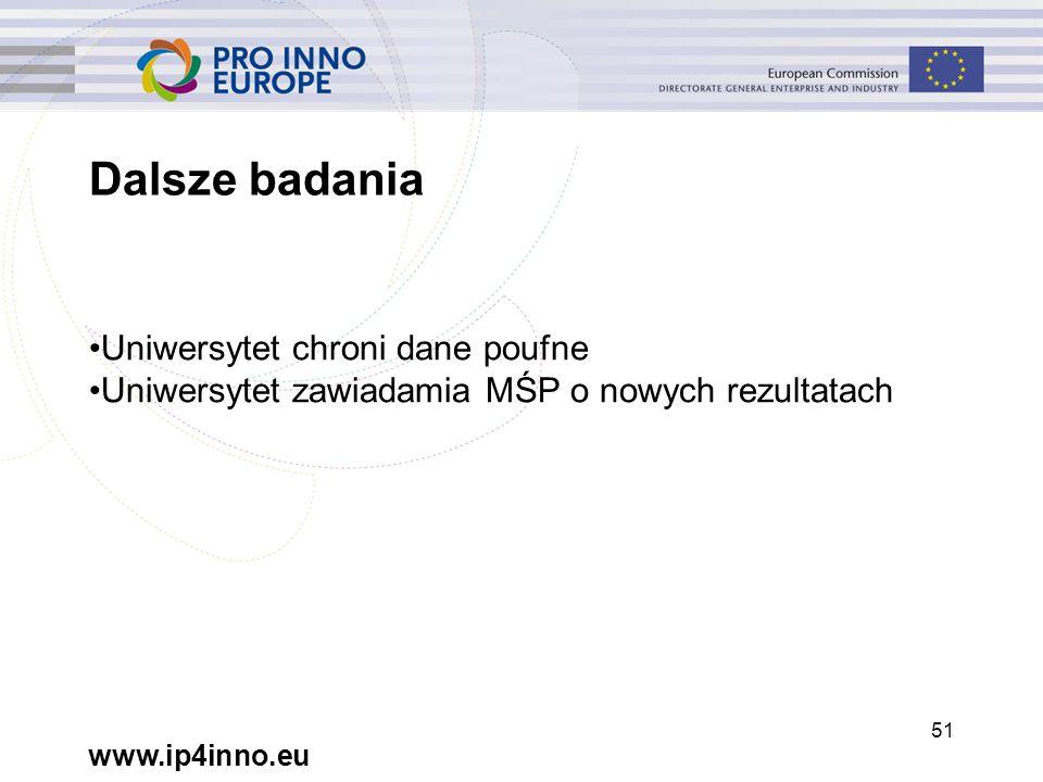 www.ip4inno.eu 51 Dalsze badania Uniwersytet chroni dane poufne Uniwersytet zawiadamia MŚP o nowych rezultatach