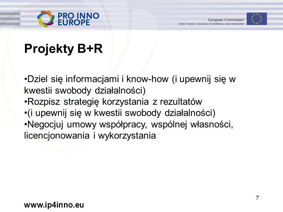 """www.ip4inno.eu 48 Informacje wprowadzające MŚP: wiedza na temat recyklingu Uniwersytet: patent oraz związane z nim know-how Wolny od opłat dostęp na potrzeby realizacji projektu Prawo do korzystania w ramach """"korzystnych warunków"""