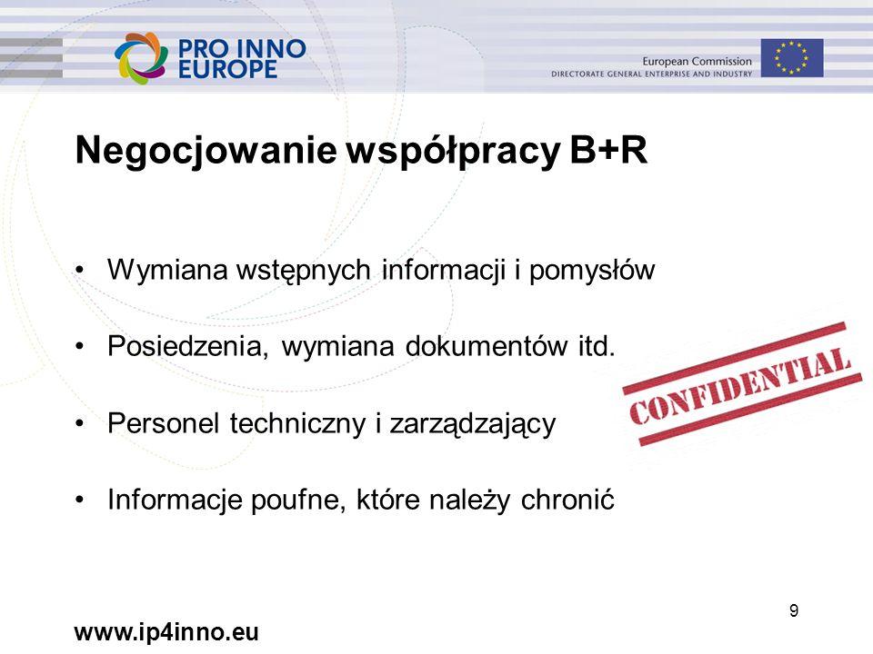 www.ip4inno.eu 9 Negocjowanie współpracy B+R Wymiana wstępnych informacji i pomysłów Posiedzenia, wymiana dokumentów itd.