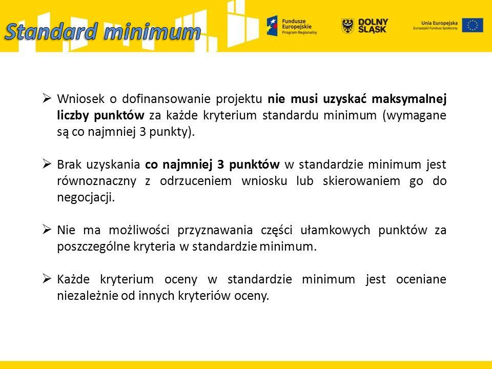  Wniosek o dofinansowanie projektu nie musi uzyskać maksymalnej liczby punktów za każde kryterium standardu minimum (wymagane są co najmniej 3 punkty