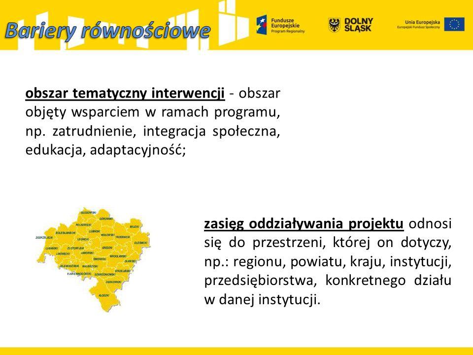 obszar tematyczny interwencji - obszar objęty wsparciem w ramach programu, np. zatrudnienie, integracja społeczna, edukacja, adaptacyjność; zasięg odd