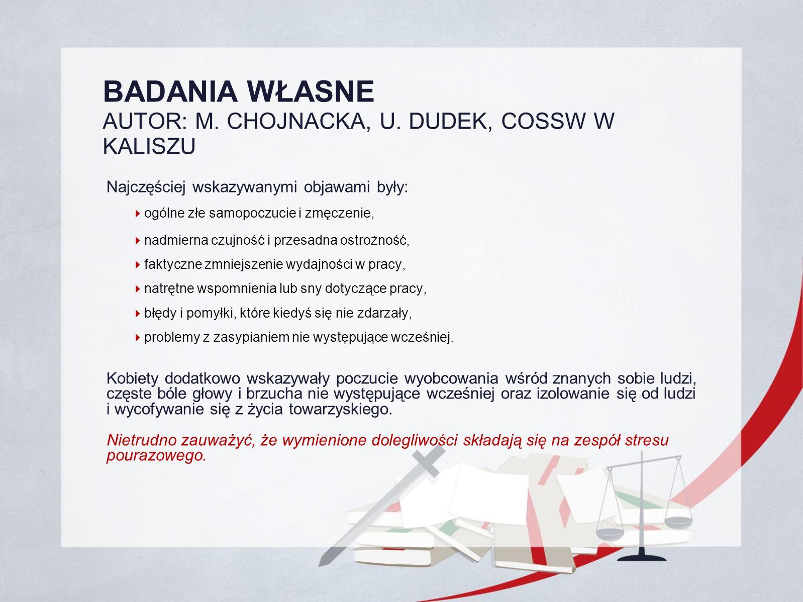 BADANIA WŁASNE AUTOR: M.CHOJNACKA, U.