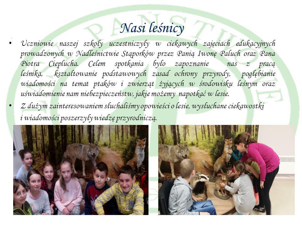 Nasi leśnicy Uczniowie naszej szkoły uczestniczyły w ciekawych zajęciach edukacyjnych prowadzonych w Nadleśnictwie Stąporków przez Panią Iwonę Paluch oraz Pana Piotra Cieplucha.