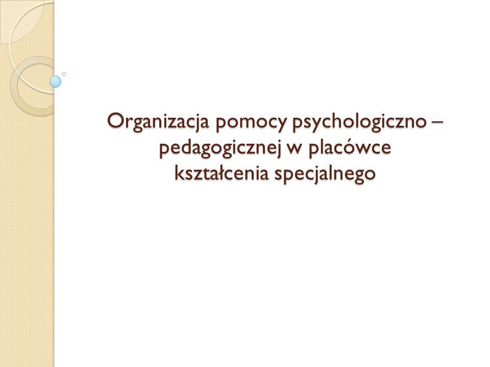 Organizacja pomocy psychologiczno – pedagogicznej w placówce kształcenia specjalnego