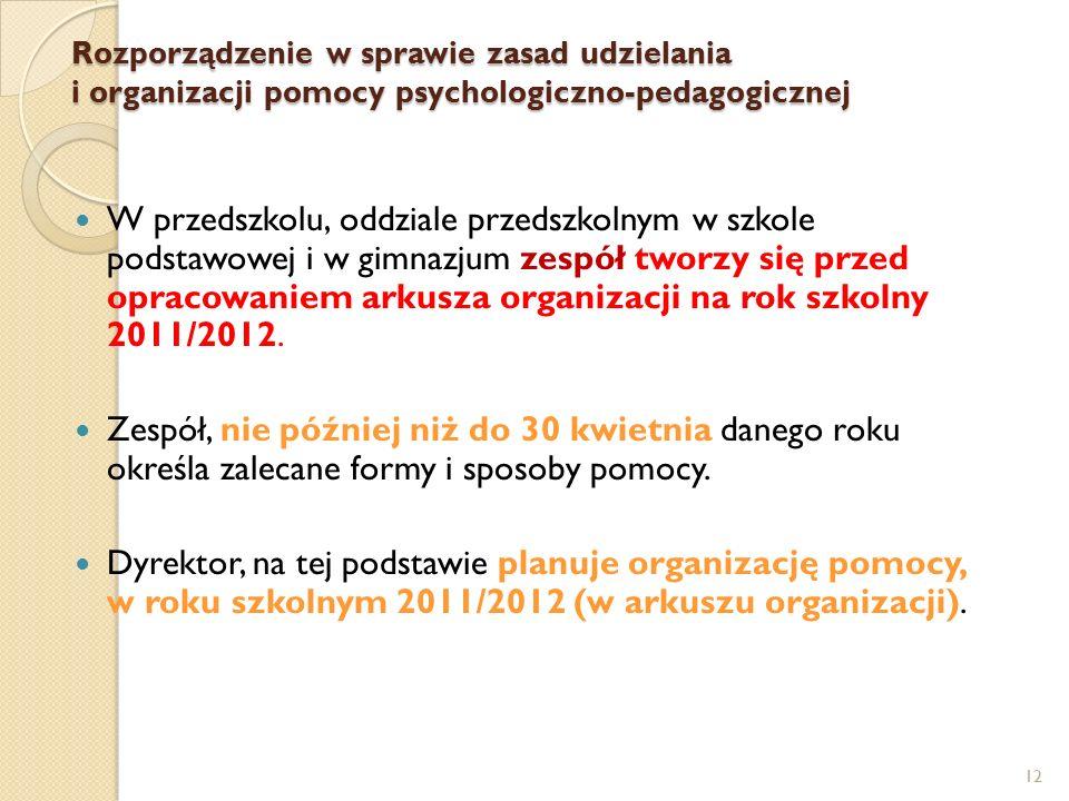 12 W przedszkolu, oddziale przedszkolnym w szkole podstawowej i w gimnazjum zespół tworzy się przed opracowaniem arkusza organizacji na rok szkolny 2011/2012.