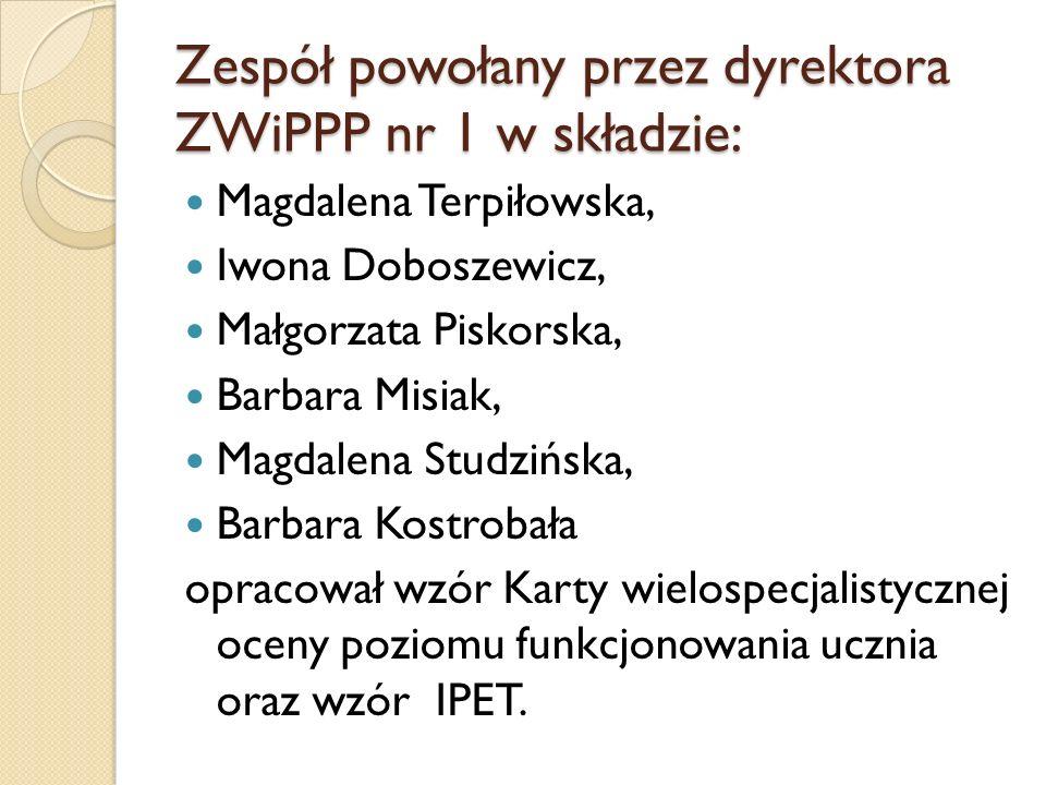 Zespół powołany przez dyrektora ZWiPPP nr 1 w składzie: Magdalena Terpiłowska, Iwona Doboszewicz, Małgorzata Piskorska, Barbara Misiak, Magdalena Stud