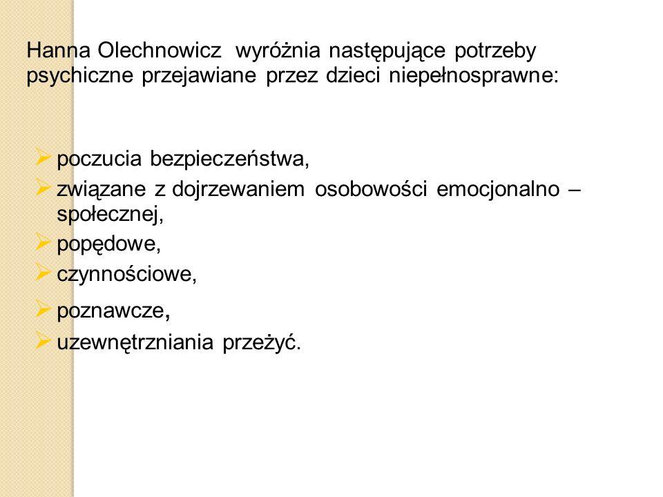 Hanna Olechnowicz wyróżnia następujące potrzeby psychiczne przejawiane przez dzieci niepełnosprawne:  poczucia bezpieczeństwa,  związane z dojrzewan