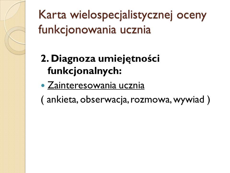 Karta wielospecjalistycznej oceny funkcjonowania ucznia 2. Diagnoza umiejętności funkcjonalnych: Zainteresowania ucznia ( ankieta, obserwacja, rozmowa