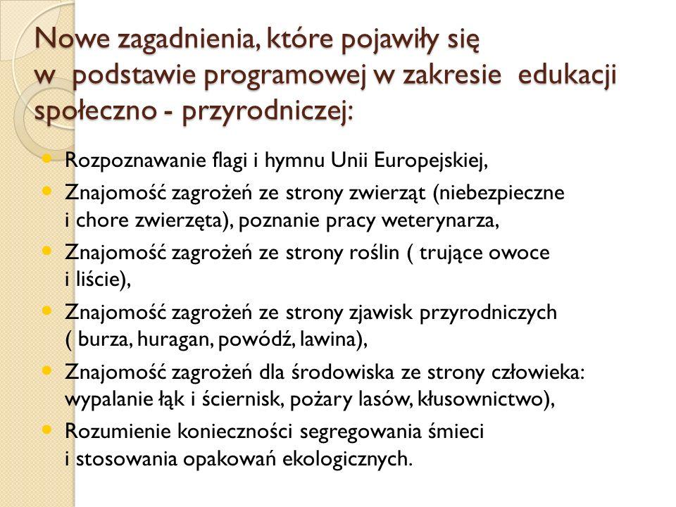 Nowe zagadnienia, które pojawiły się w podstawie programowej w zakresie edukacji społeczno - przyrodniczej: Rozpoznawanie flagi i hymnu Unii Europejsk