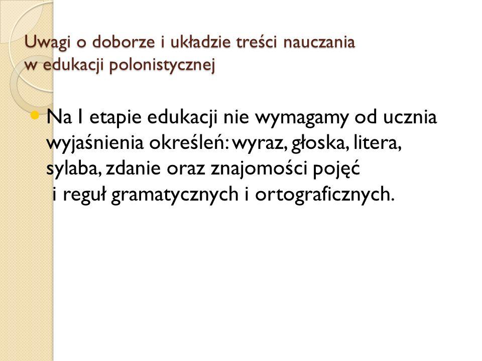 Uwagi o doborze i układzie treści nauczania w edukacji polonistycznej Na I etapie edukacji nie wymagamy od ucznia wyjaśnienia określeń: wyraz, głoska, litera, sylaba, zdanie oraz znajomości pojęć i reguł gramatycznych i ortograficznych.