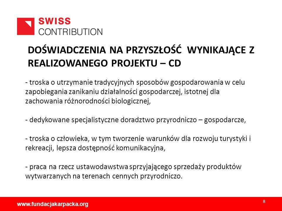 www.fundacjakarpacka.org PRACE NA RZECZ TRWAŁOŚĆI REZULTATÓW -prowadzenie i aktualizacja serwisu internetowego www.cozi.org.pl.www.cozi.org.pl -kontynuowanie współpracy w ramach stworzonego partnerstwa poprzez wymianę i udostępnianie informacji.