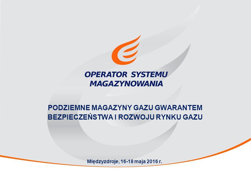 PODZIEMNE MAGAZYNY GAZU GWARANTEM BEZPIECZEŃSTWA I ROZWOJU RYNKU GAZU Międzyzdroje, 16-18 maja 2016 r.
