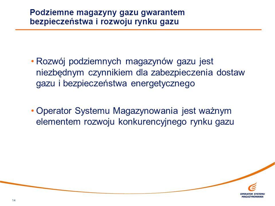 Rozwój podziemnych magazynów gazu jest niezbędnym czynnikiem dla zabezpieczenia dostaw gazu i bezpieczeństwa energetycznego Operator Systemu Magazynow