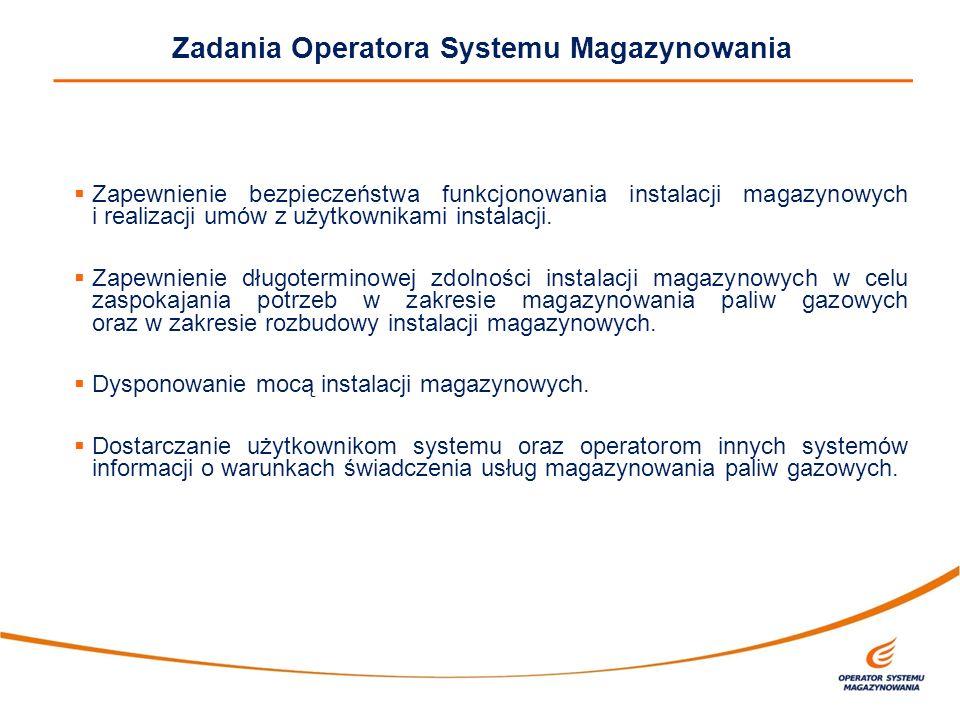 Zadania Operatora Systemu Magazynowania  Zapewnienie bezpieczeństwa funkcjonowania instalacji magazynowych i realizacji umów z użytkownikami instalac