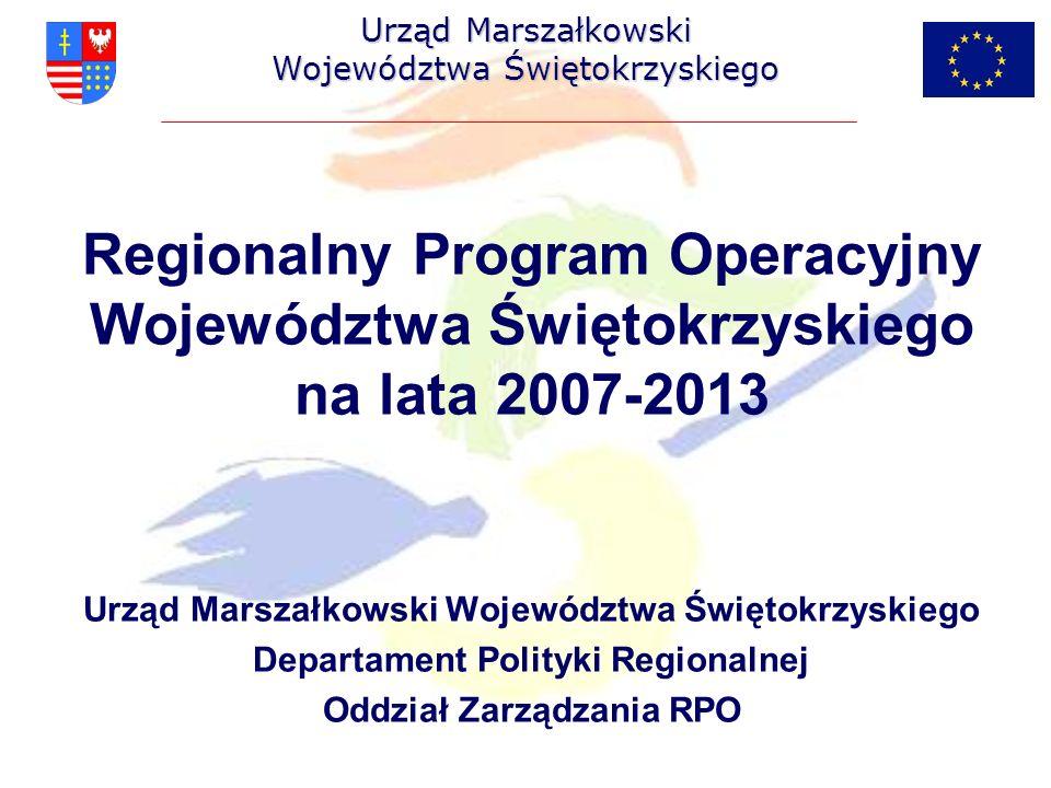 Indykatywny Plan Inwestycyjny w ramach Regionalnego Programu Operacyjnego Województwa Świętokrzyskiego na lata 2007-2013 (c.d.) Dostosowanie do obowiązujących standardów Woj.