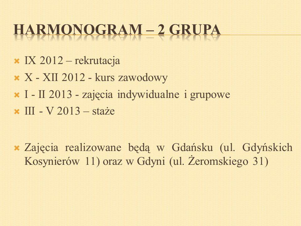  IX 2012 – rekrutacja  X - XII 2012 - kurs zawodowy  I - II 2013 - zajęcia indywidualne i grupowe  III - V 2013 – staże  Zajęcia realizowane będą