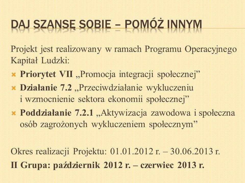 """Projekt jest realizowany w ramach Programu Operacyjnego Kapitał Ludzki:  Priorytet VII """"Promocja integracji społecznej""""  Działanie 7.2 """"Przeciwdział"""