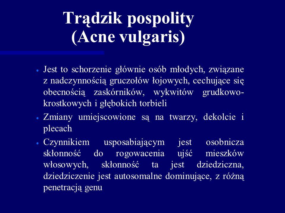 Trądzik pospolity (Acne vulgaris)   Jest to schorzenie głównie osób młodych, związane z nadczynnością gruczołów łojowych, cechujące się obecnością zaskórników, wykwitów grudkowo- krostkowych i głębokich torbieli   Zmiany umiejscowione są na twarzy, dekolcie i plecach   Czynnikiem usposabiającym jest osobnicza skłonność do rogowacenia ujść mieszków włosowych, skłonność ta jest dziedziczna, dziedziczenie jest autosomalne dominujące, z różną penetracją genu