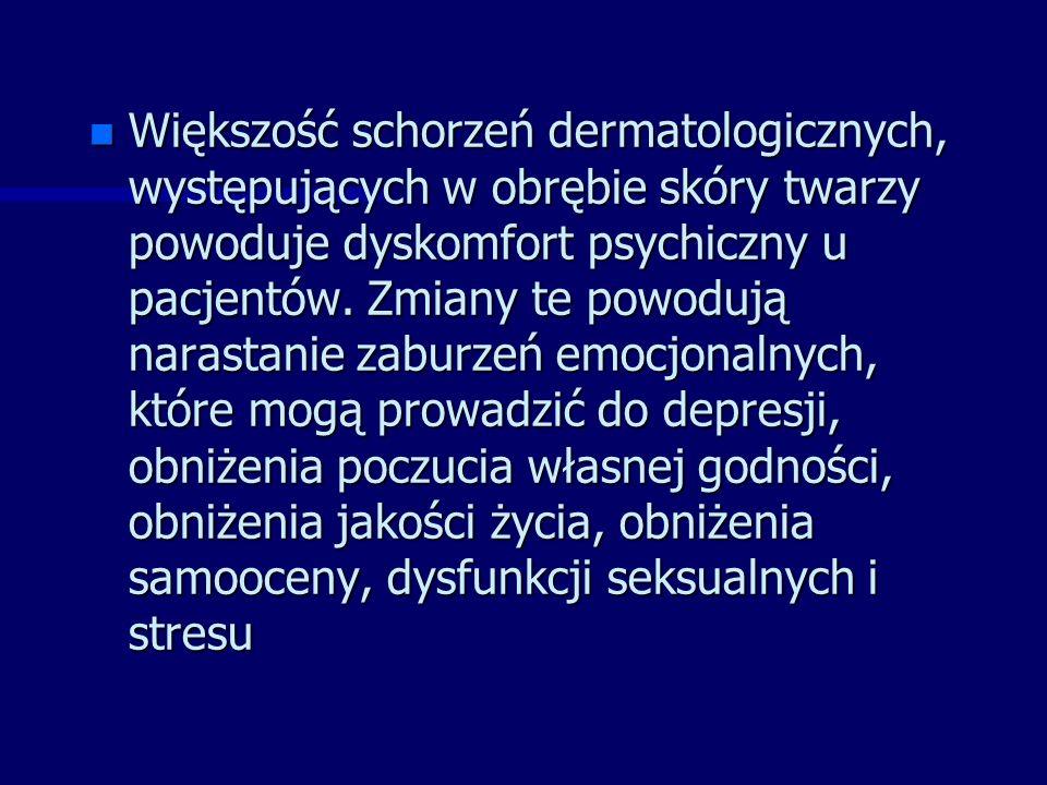 n Większość schorzeń dermatologicznych, występujących w obrębie skóry twarzy powoduje dyskomfort psychiczny u pacjentów.
